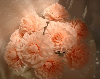 Seven Shell Pink or Light Apricot Wedding Crepe Paper Roses on Wires...Art Deco Stylized Flowers