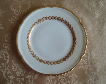 Dessert Plates, Bread Plates, Castleton Laurel Bread and Butter or Dessert Plates...Vintage 1960s Near Mint, Gilded, Beaded, Gilding, Pretty