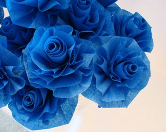 Custom Royal Blue Stylized Art Deco Crepe Paper Roses....Bakers Dozen Flowers