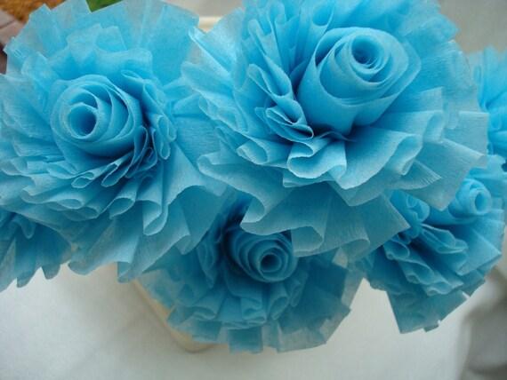 Seven Icy Aqua Mist Wedding Crepe Paper Roses...ART DECO STYLIZED