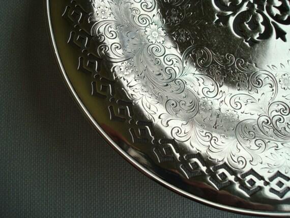 Vintage Silver Bowl, Pierced Silverplate Bowl Quadruple Plate, Quality Vintage 1970s, Silver, Silver Plate, Filigree, Pierced, Elegant