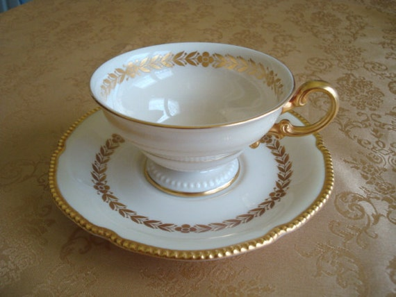 Vintage Castleton Laurel Footed Teacup and Saucer...1960s Ivory with Gilding