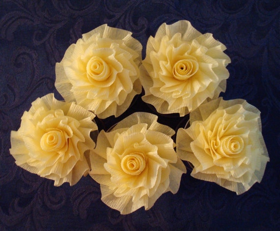 Five Handmade Lemon Yellow Crepe Paper Roses...Three Inches Across Art Deco Stylized Flowers