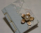 Mini Book Pin \/ Brooch with Flower