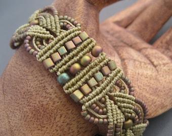 Beaded Macrame Bracelet in Matte Metallic Khaki Iris
