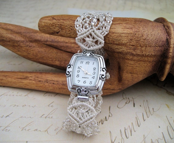 Watch in Crystal and Silver MicroMacrame