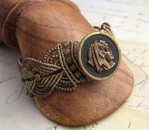 Egyptian Theme Macrame Bracelet with Vintage Button