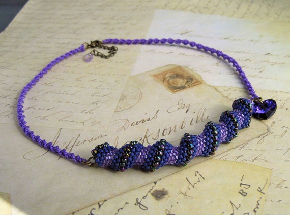 Spirals in Purple Bead Weaving and Macrame Necklace