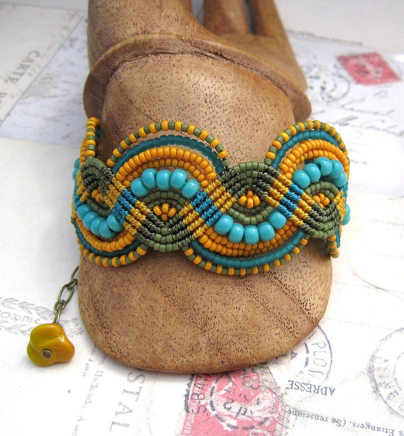 Mustard, Teal and Olive Green Beaded Macrame Bracelet Quirky Summer Fashion