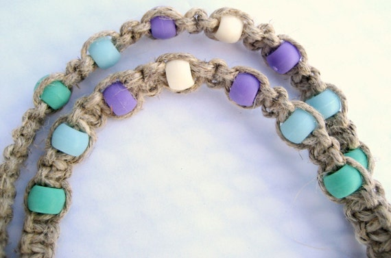 Macrame Hemp Lanyard with Blue, Green and Lavender Beads
