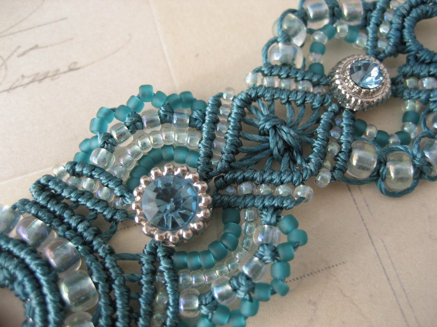 macrame beaded bracelets teal rhinestone beaded macrame 1266