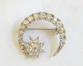 Vintage Clear Rhinestone Crescent Moon and Star Brooch or Pin