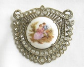 Vintage Antique Victorian Porcelain Cameo with Clear Rhinestones Brooch or Pin