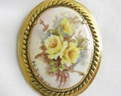 Vintage Handpainted and signed Porcelain Floral Cameo Brooch or Pin or Pendant