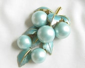Vintage Blue Enamel Leaves with Blue Dangling Berries Brooch or Pin