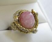 Vintage Pink Art Glass Cabochon 3 Snakes Eternal Love Ring