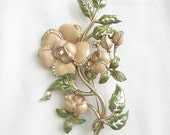 Vintage ART DECO Soft Pink and Green Floral, Rose Flower Brooch or Pin with Clear Rhinestone Accents