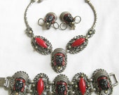 RESERVED for Sherri Vintage SELRO Asian Blackamoor Necklace, Bracelet and Earrings Parure Set