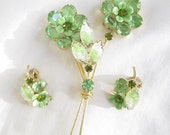 Vintage Juliana, DeLizza and Elster, D&E Peridot Lime Green Rhinestones, Givre Molded Lava Glass, and Enamel Flower Brooch and Earrings Dem