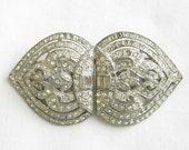 Vintage Art Deco Signed CORO Duette Rhinestone Fur Clips or Brooch