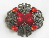 Vintage Art Deco Bright Red Cut Glass and Rhinestone Filigree Brooch or Pin