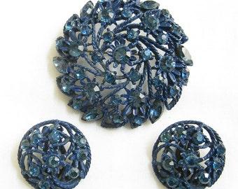Vintage Cobalt Blue Enameled and Blue Rhinestones Flower Brooch or Pin and Earrings Demi Parure Set
