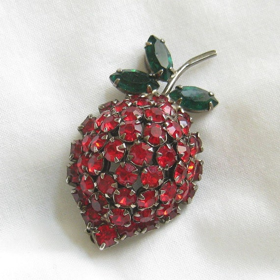 Vintage Red and Green Rhinestones Strawberry Brooch or Pin signed WARNER