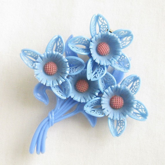 Vintage Blue Plastic or Celluloid Flower Brooch or Pin with Soft Pink Centers
