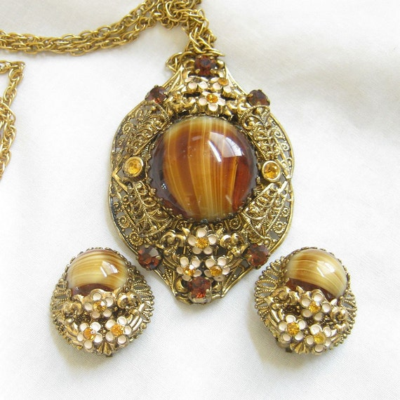 Vintage 1940s Art Glass and Amber and Topaz Rhinestones Layered Filigree and Enamel Flowers Pendant Necklace and clip Earrings Demi Parure