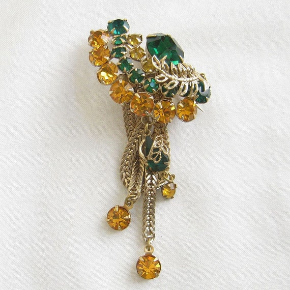 Vintage Emerald Green and Golden Topaz Rhinestones Dangle Pin or Brooch