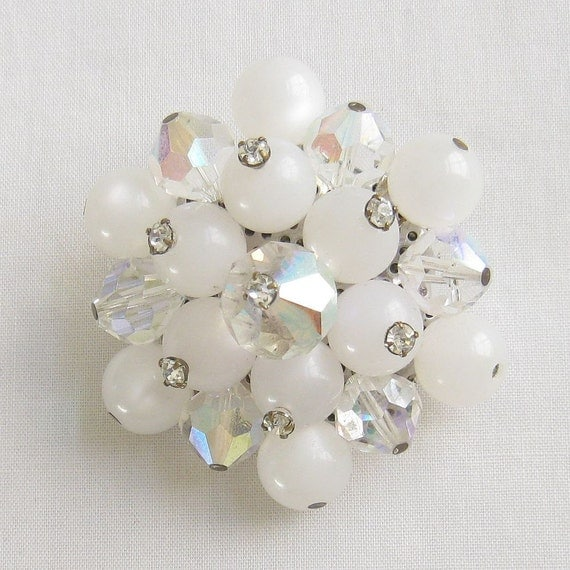 Vintage Rhinestone Tipped White Moonglow and Crystal Cluster Brooch or Pin