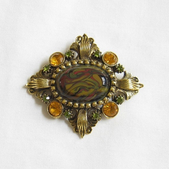 Vintage Topaz and Green Rhinestone and Swirl Art Glass Brooch or Pin
