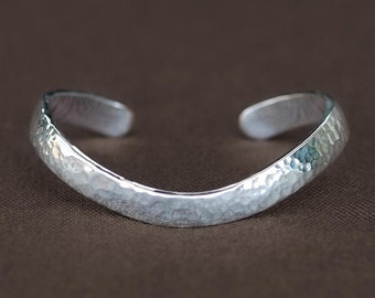 Sterling Silver Polished Hammered  Bracelet Cuff With Curve
