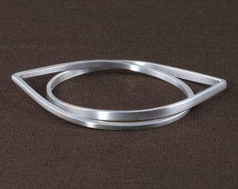 Sterling Silver Bangle Set with Teardrop Shape