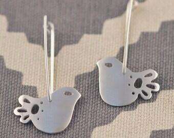 Sterling Silver Drop Earrings with Petite Mod Dove Bird