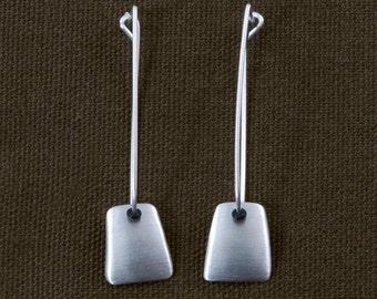 Sterling Silver Matt Finish tapered drop earrings