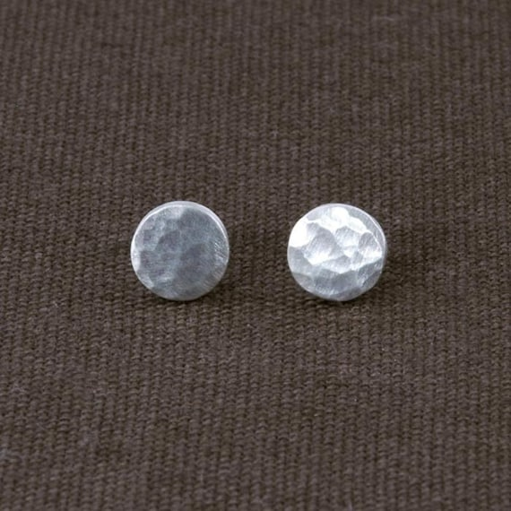 Sterling Silver Hammered Circle Stud Earrings ERS60