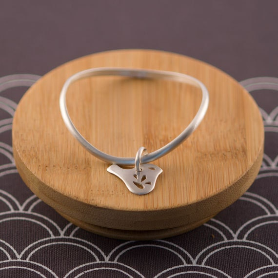 Sterling Silver Bangle Curved Petite Mod Jay Bird