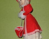 Vintage Pixie girl doll Christmas ornament with parasol and muff