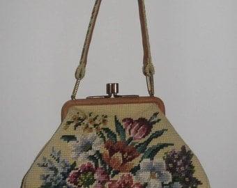 vintage Jolles originals floral needlepoint frame handbag