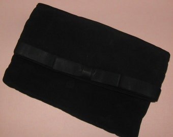 Black crepe fold over clutch evening bag with grossgrain bow accent