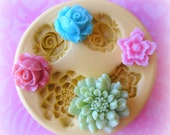 Polymer Clay Charms Flower Mold Daisy Rose Mold Flower Silicone Flexible Clay Resin Mould