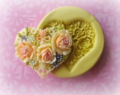 Valentine Heart Flower Mold Flower Silicone Flexible Clay Resin Mould