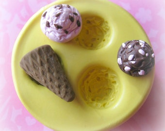 Ice Cream Scoop Mold Cone Mold Deco Sweets Kawaii Food Silicone Flexible Clay Resin Mould