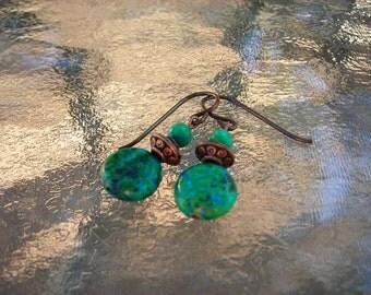 Australian Jasper and Copper Earrings