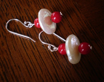 Red Coral and White Coin Pearl Earrings -- Sterling Silver