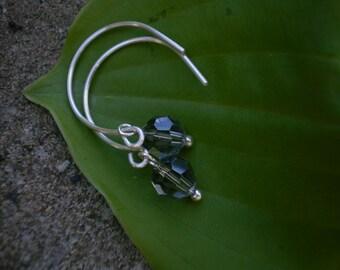 Smoke Crystal Earrings with Sterling Silver Handmade Earwires