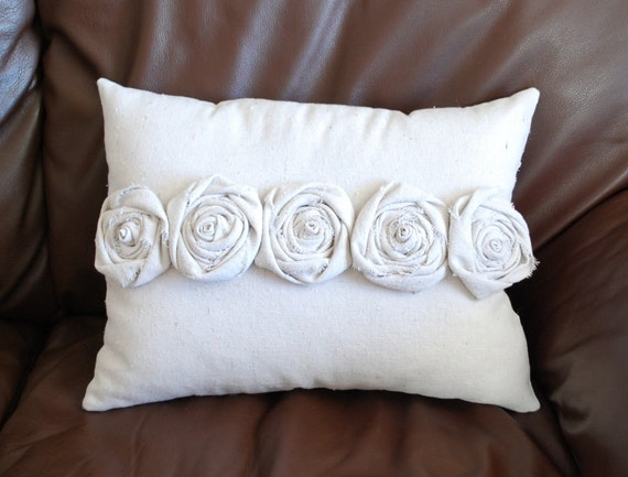 Rosette Decorative Pillow : Decorative Pillow Shabby Chic Rosettes Canvas by CreationsbyKara