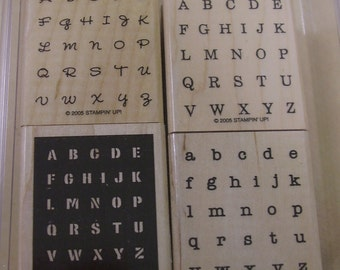 Stampin Up Alphabits wood-mounted rubber stamp set of 4