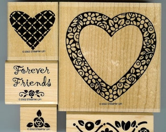 Stampin Up Hearts and Posies set of 5 rubber stamps